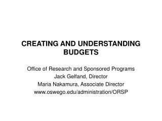 CREATING AND UNDERSTANDING BUDGETS