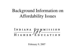 Background Information on Affordability Issues
