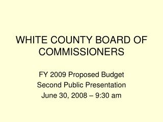 WHITE COUNTY BOARD OF COMMISSIONERS
