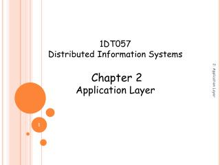 1DT057 Distributed Information Systems Chapter 2 Application Layer