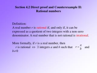 Section 4.2 Direct proof and Counterexample II: Rational numbers