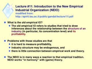 What is the old empirical IO?