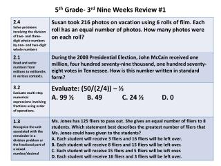 5 th  Grade- 3 rd  Nine Weeks Review #1