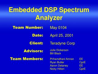 Embedded DSP Spectrum Analyzer