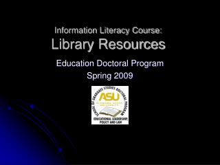 Information Literacy Course: Library Resources