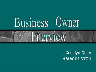 Carolyn Chan AMM101.3704