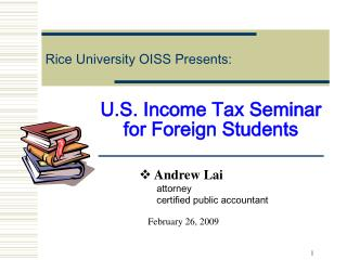 U.S. Income Tax Seminar for Foreign Students