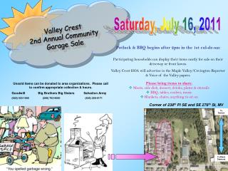 Valley Crest  2nd Annual Community Garage Sale
