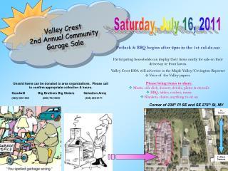 Valley Crest  2nd Annual Community Garage Sale