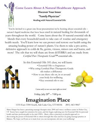"""Discover Your Inner  """"Family Physician"""" Healing with Natural Essential Oils"""