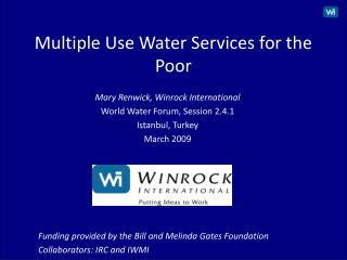 Multiple Use Water Services for the Poor