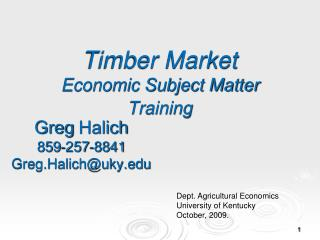 Timber Market Economic Subject Matter Training