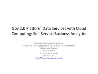 Gov 2.0 Platform Data Services with Cloud  Computing : Self Service Business Analytics