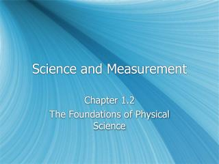 Science and Measurement