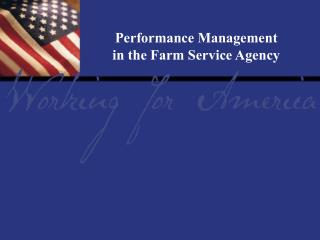 Report Tile Performance Management in the Farm Service Agency