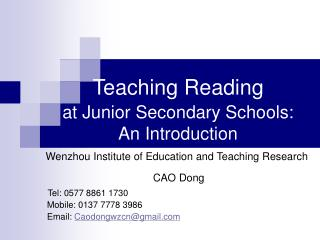 Teaching Reading at Junior Secondary Schools: An Introduction