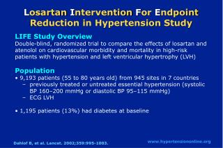 L osartan  I ntervention  F or  E ndpoint Reduction in Hypertension Study