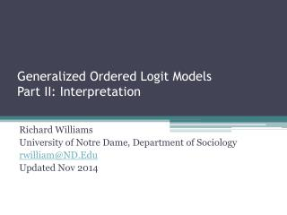 Generalized Ordered Logit Models  Part II: Interpretation