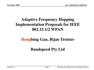 Adaptive Frequency Hopping Implementation Proposals for IEEE 802.15.1