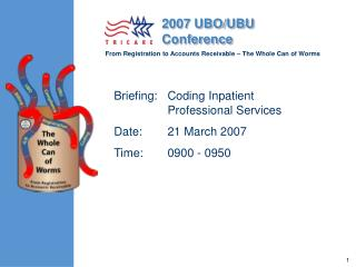 Briefing:Coding Inpatient Professional Services Date:21 March 2007 Time:0900 - 0950