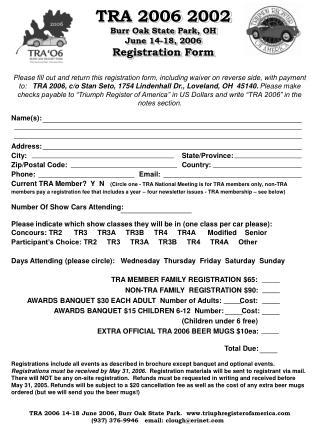 TRA 2006 Registration Form