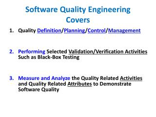 Software Quality Engineering Covers
