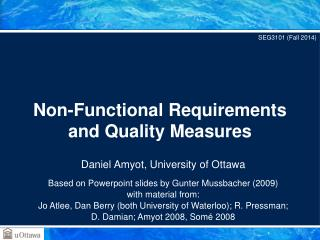 Non-Functional Requirements  and Quality Measures
