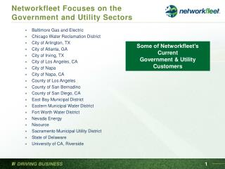 Networkfleet Focuses on the Government and Utility Sectors