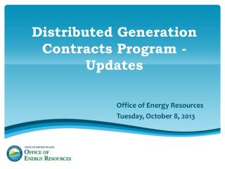 Distributed Generation Contracts Program -Updates