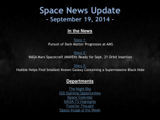 Space News Update - September 19, 2014 -
