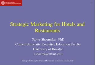 Strategic Marketing for Hotels and Restaurants