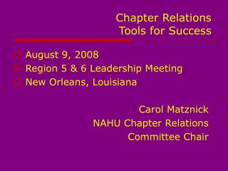 Chapter Relations   Tools for Success