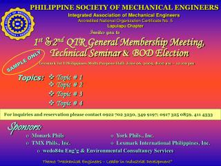 PHILIPPINE SOCIETY OF MECHANICAL ENGINEERS