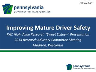 """RAC High Value Research """"Sweet Sixteen"""" Presentation 2014 Research Advisory Committee Meeting"""