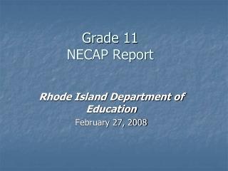 Grade 11  NECAP Report
