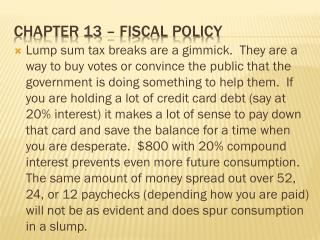 Chapter 13 – Fiscal policy