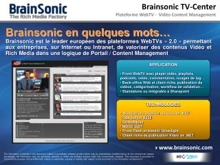Brainsonic TV-Center Plateforme WebTV -  Vidéo Content Management