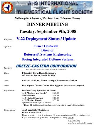 Philadelphia Chapter of the American Helicopter Society DINNER MEETING