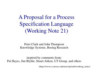 A Proposal for a Process Specification Language Working Note 21