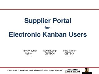 Supplier Portal for Electronic Kanban Users
