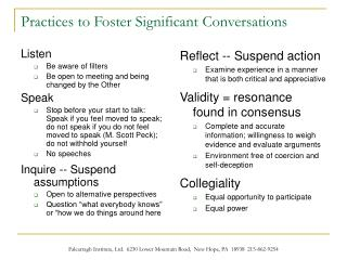 Practices to Foster Significant Conversations