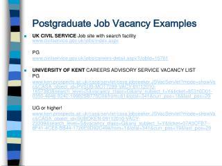Postgraduate Job Vacancy Examples