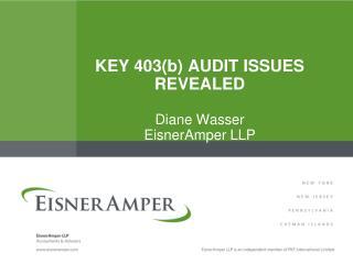 KEY  403( b ) Audit  ISSUE s  REVEALED Diane Wasser EisnerAmper LLP