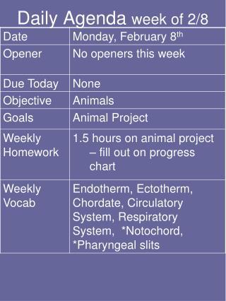 Daily Agenda  week of 2/8