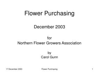 Flower Purchasing