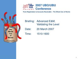 Briefing:	Advanced E&M, Validating the Level Date:	20 March 2007 Time:	1510-1600