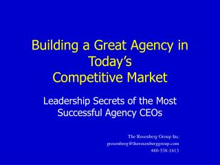 Building a Great Agency in Today's Competitive Market