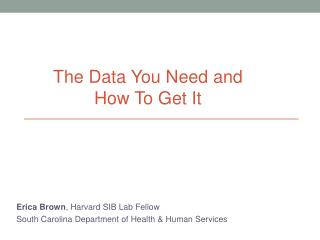 Erica Brown , Harvard SIB Lab Fellow South Carolina Department of Health & Human Services