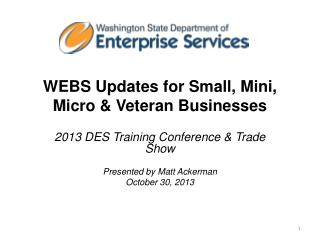 WEBS Updates for  Small, Mini,  Micro & Veteran Businesses