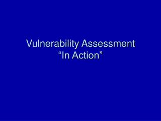"Vulnerability Assessment  ""In Action"""